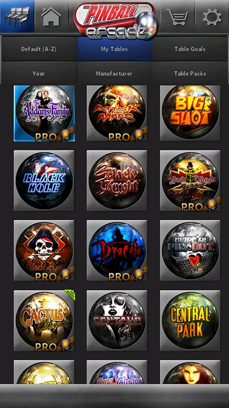 Pinball Arcade - Table Grid