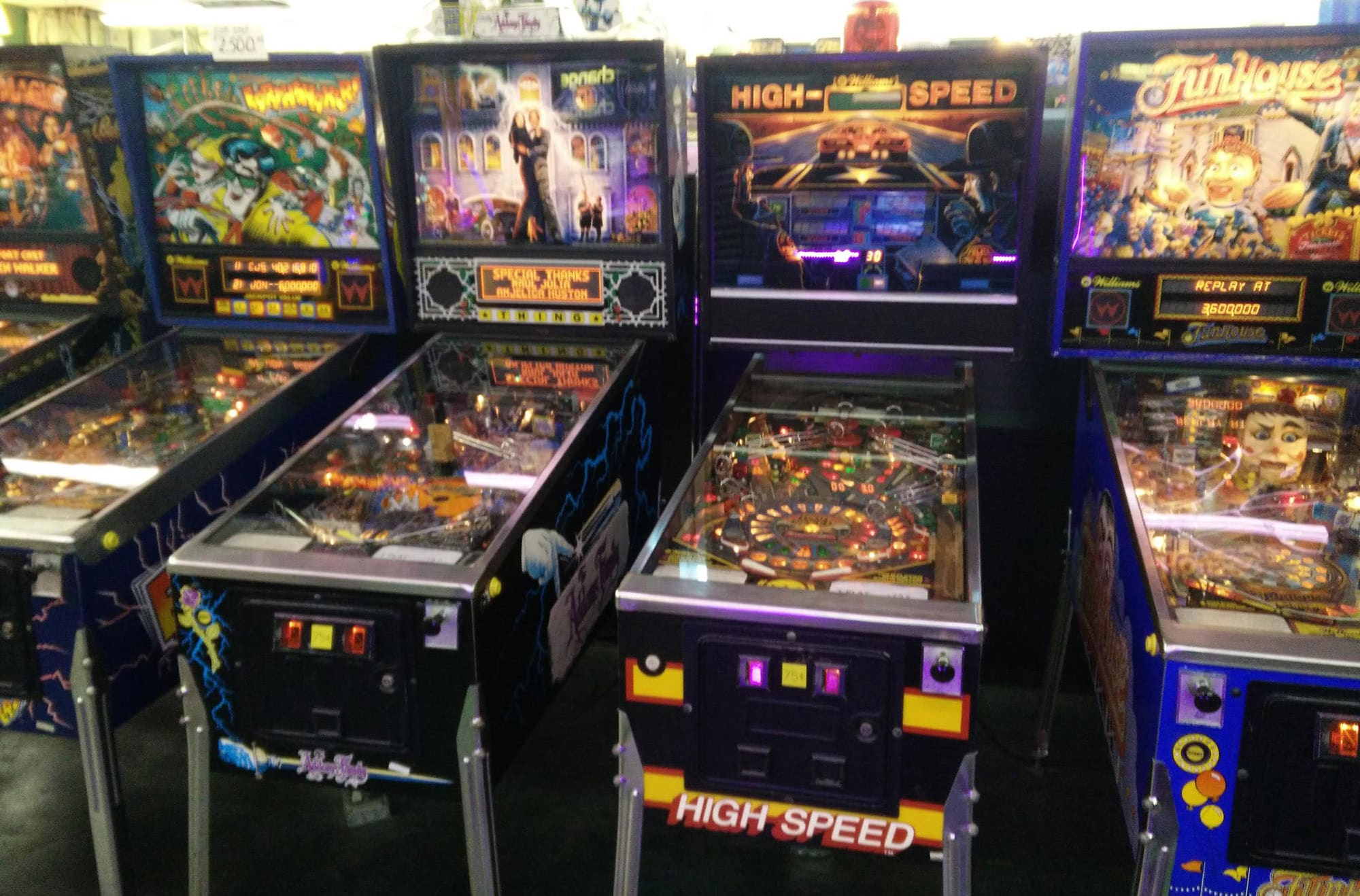 Row of Pinball Machines at Funspot, New Hampshire